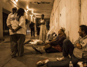 The Chicago Department of Family and Support Services and an outreach group came to talk with the homeless underneath North Lake Shore Drive on West Wilson Avenue on Monday night. | Alex Wroblewski / Sun-Times