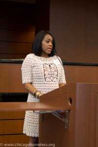 Speaking at the scholarship event last spring.