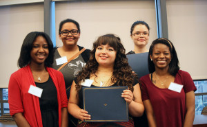 2015 Scholarship Winners (from left): Aja Lowrey, T'Prinn Ingram, Jennessa Martinez, Amanda Sepulveda and Catherine Jones