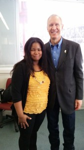 Caprice Williams with Gov. Bruce Rauner