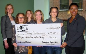 CCH staff accept $21,250 check from representatives of Bridgeview Bank. (November 2015)