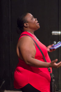 Parent Dewanna Brewer emceed the showcase, as well as sharing her own poem and two by a friend.
