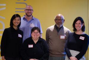 From left, Claire Lew, Brett Rausch, Tracy Baim, Mikal Rasheed and Megan Winkelman (Photo by Julie Dworkin)
