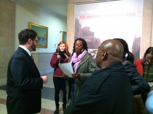 Photo by CCH: On Oct. 17, a Re-entry Project delegation delivers a letter to Mayor Emanuel's office to request a meeting about a CHA pilot