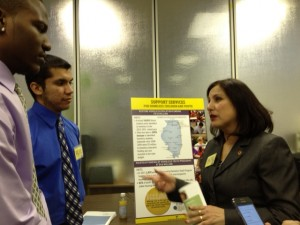 La Casa Norte youth clients talk with State. Rep. Cynthia Soto of Chicago.