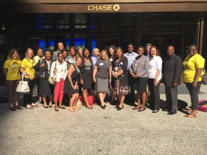 Some of the 28 members of the legal staff from CCH and Chase who ran the July 23 clinic for homeless youth.