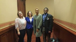 (From left) Lindsey Hammond of Community Renewal Society, Sam Tuttle from Heartland Alliance, State Rep. Camille Lilly, and CCH's Jonathan Holmes (Photo by CRS)