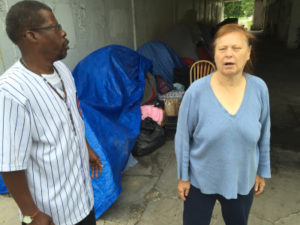 Roger Gardner and Denise Goad are among the homeless people living under the Wilson Avenue viaduct at Lake Shore Drive who hope the city can help them find housing before winter. | Mark Brown / Sun-Times